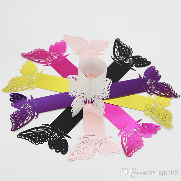 Butterfly Hollow out Paper Napkin Buckle Rings Laser Cut Paper Craft Serviette Holder for Wedding Party Hotel Banquet Table Decor