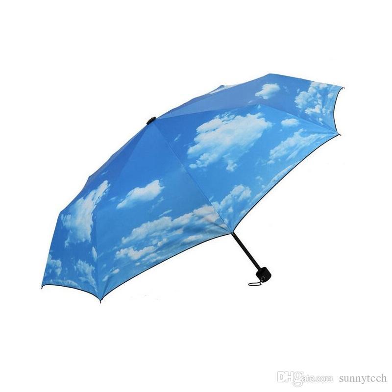 Creativo Blue Sky Umbrella Rain Mujeres 3-Sun Bloque UV protección del bloque de viaje compacto paraguas ligero ZA1169