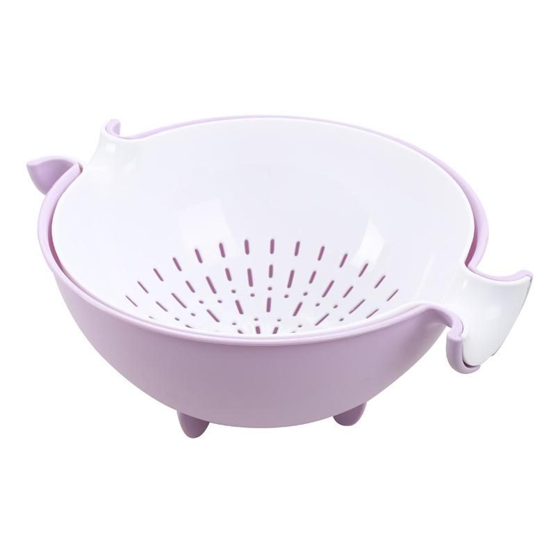 New hot Kitchen Sink Basket Plastic Draining Double Layer Washing Basket Vegetables Strainer Fruit Washing Basket