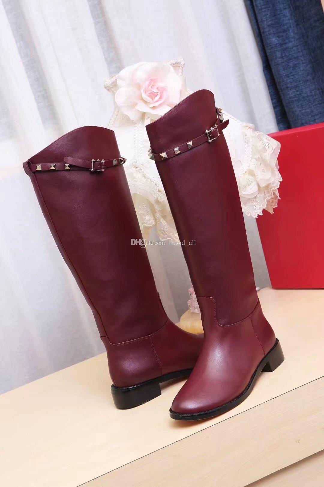 Stivaletti alti al ginocchio Stivaletti lunghi color vino rosso nero Stivaletti da moto da donna in pelle di moda femminile