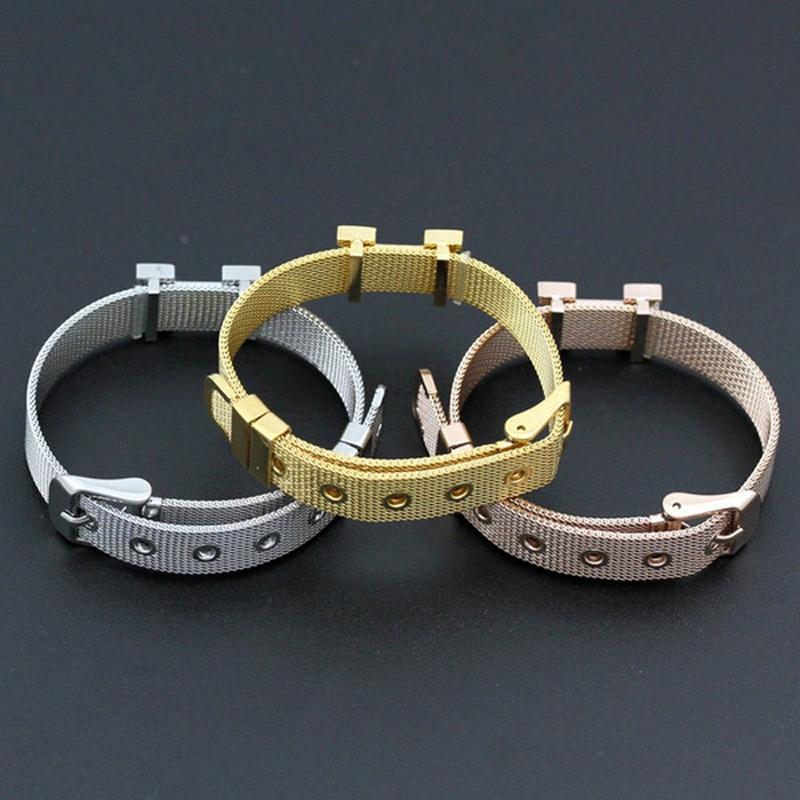 Colorfast Top Quality Jewelry Titanium Mesh Bracelet Fashion Famous Brand Adjustable Cuff Wristband Women H Bangle Joyas Bijoux H-2016 Gift