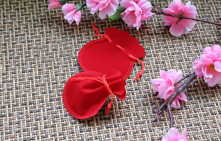 Jewelry Gift Bags 7.3*6.3cm Necklace Earrings Rings Present Package Cloth Pounches Bag for Christmas Wedding Birthday Party 0660WH