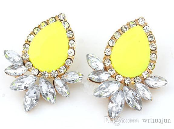 Korean Diamond Earrings Neon Color Gemstone Stud Earrings Women Fashion Jewelry Girls Big Stud Earring 10PRS Party Earring