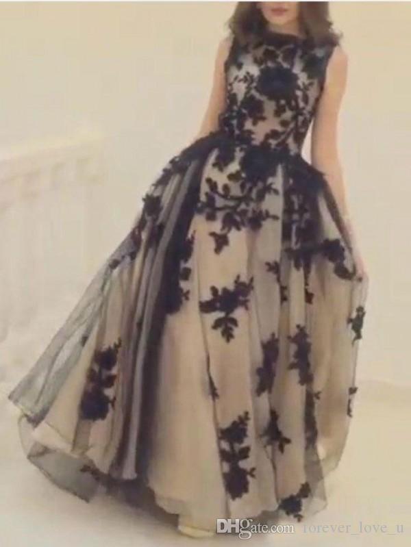 빈티지 블랙 레이스 아플리케 댄스 파티 드레스 라인 쉬어 BATEAU 목 민소매 샴페인 얇은 명주 그물 긴 공식적인 저녁 파티 가운 사용자 정의