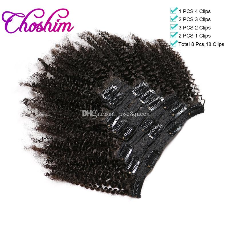 "Choshim Slove Hair Afro Kinky Curly Clip In Human Hair Extensions Remy Brazilian Hair Weave Bundles 120G/Bundle 10-24"" Easy to Take Care"