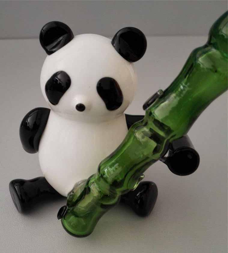 hfNew Hand Blown Panda Holding Bamboo Glass Pipes With Oil Rig Hammer Pipes Glass Smoking Pipes