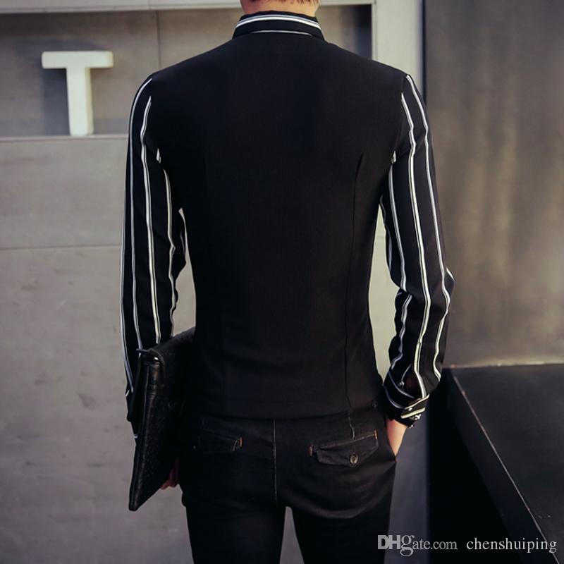 New Fashion Mens Luxury Casual Shirts Vest False two pieces Slim Fit Stylish Dress Shirts