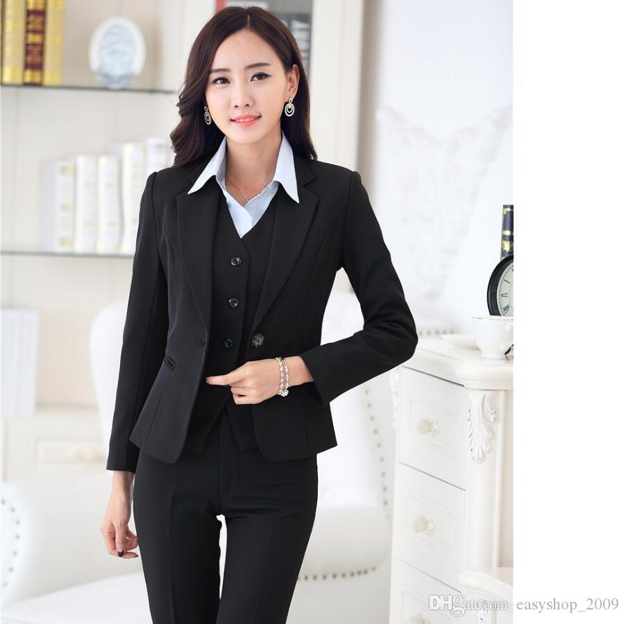 2018 Formal Women Business Suits With Pant + Blazer + Vest ...