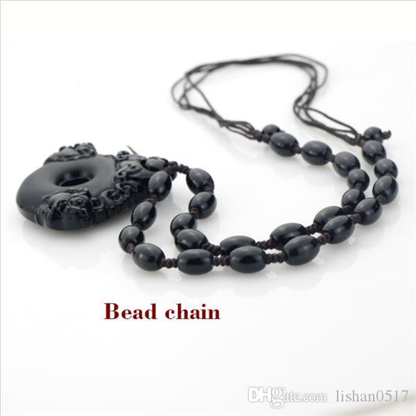 High quality Natural obsidian hand carved pixiu peace clasp pendant Hand-woven adjustable length beads necklace For women & man