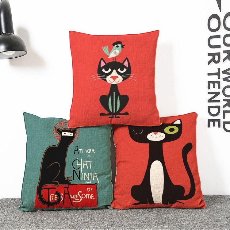 O envio gratuito de desenhos animados novos ninja cat fronha atacado de moda capas de almofadas de linho sintético almofada lombar