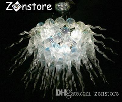 Modern Clear Crystal Chandelier Livng Room Decor 100% Hand Blown Glass LED Ceiling Chain Chandelier Light Fixture