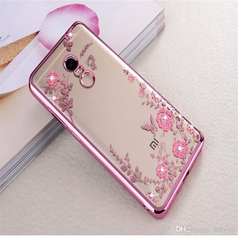 Flora Diamond Bling Soft TPU Clear Phone Back Cover Secret Garden Flowers Case For Xiaomi Note 4 4X For Samsung for Huawei