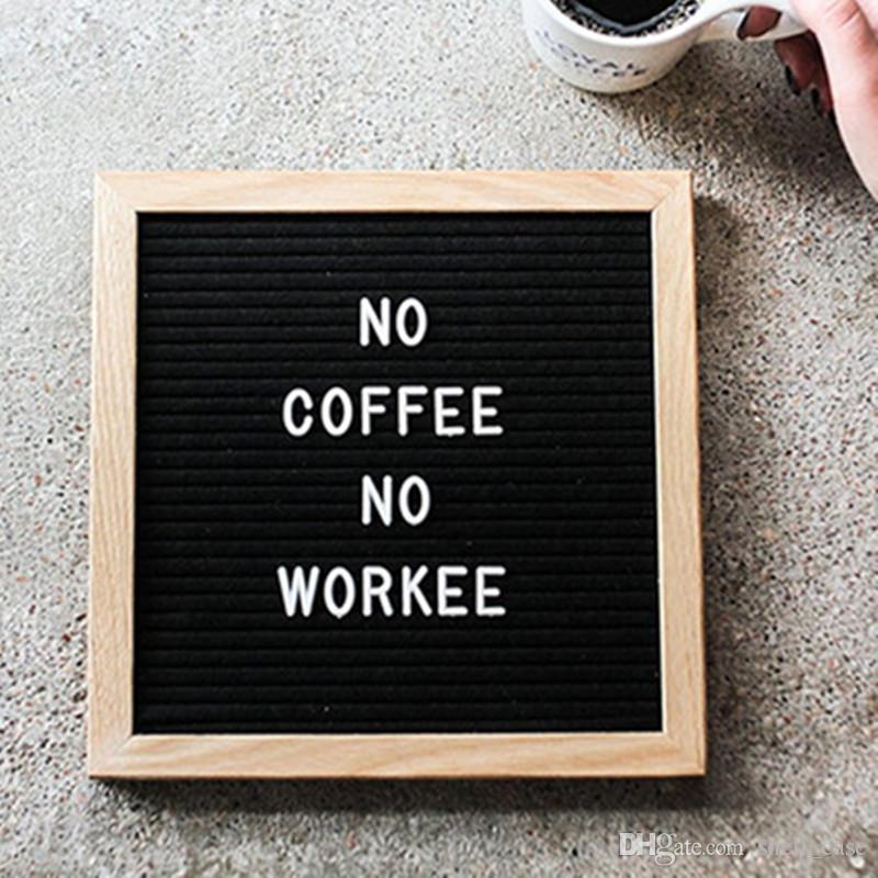 2019 10x10 inches black felt letter board message boards oak wood frame letters boards phone ad. Black Bedroom Furniture Sets. Home Design Ideas
