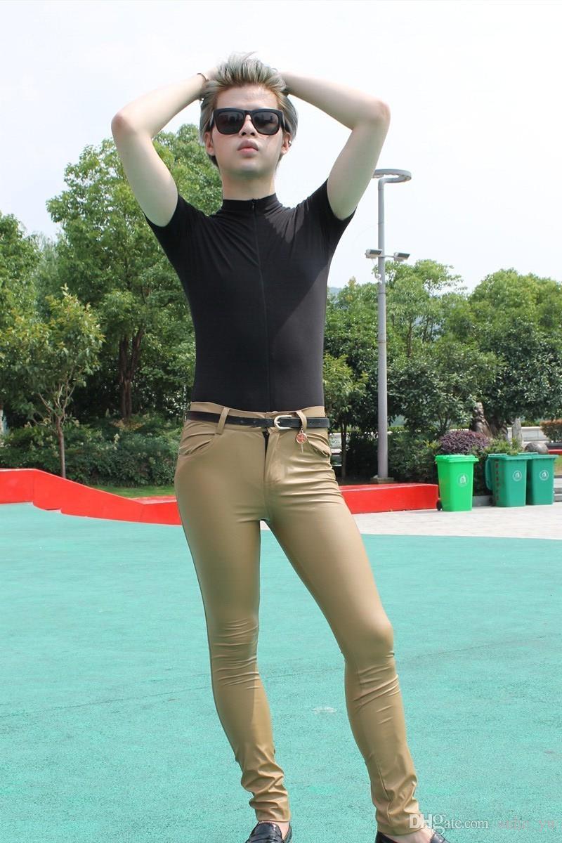 Sexy Hommes Faux En Cuir Matte Crayon Pantalon Skinny Pantalon Casual Leggings Slim Fit Fermeture Éclair Érotique Lingerie Club Wear FX112