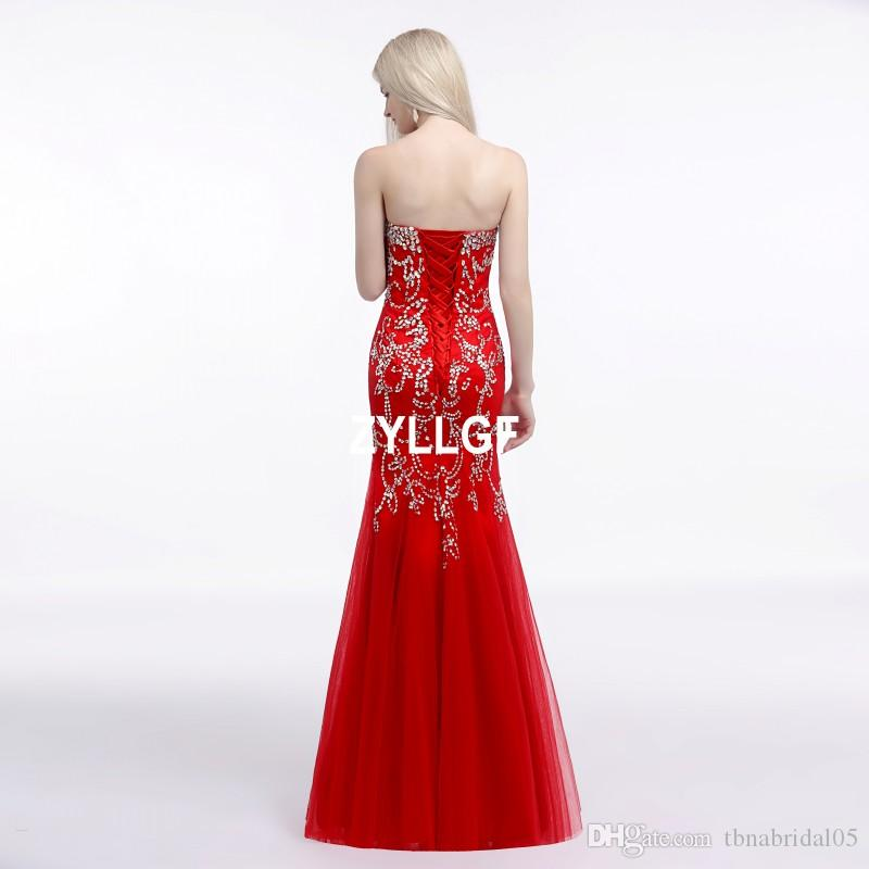 Luxury Strapless Evening Dresses Red Lace up Beaded Pattern Ball Gown Tulle Long Prom Dress Vestido De Noche Special Occasion Dresses