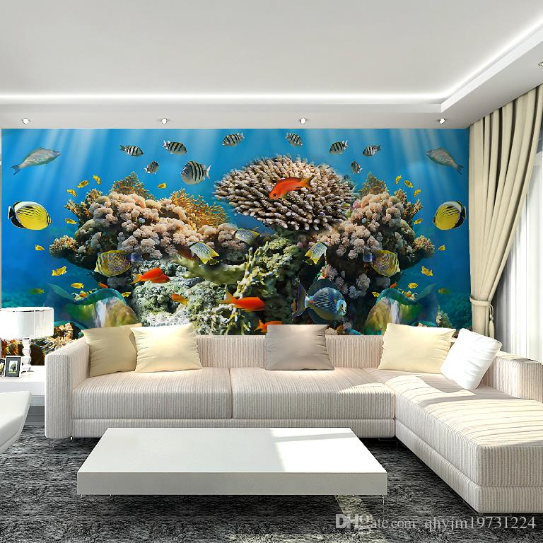 3d underwater world mural non woven wallpaper art deco for 3d aquarium wallpaper for bedroom