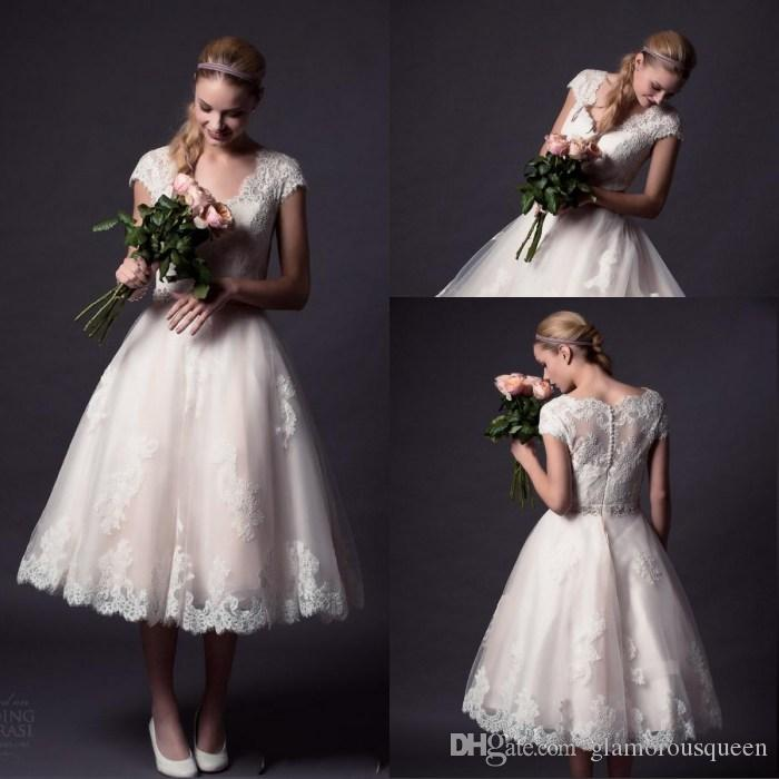 Blush Tea Length Plus Size Wedding Dresses