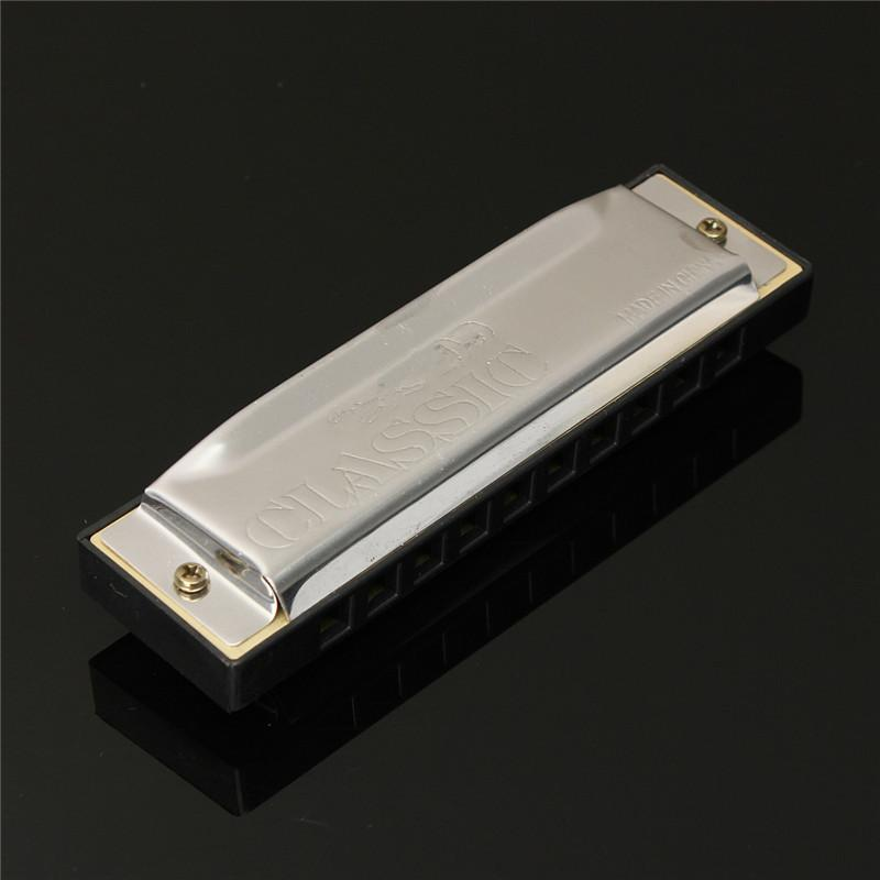 New Silver Metal 10 Holes Harmonica C Key Mouth Organ For Any Beginner or Harmonica Lovers Woodwind Instruments Gift