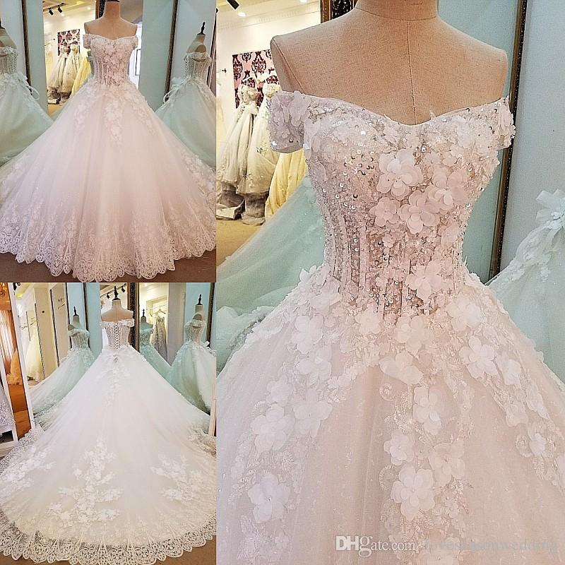 Ls0008 Gorgeous Bridal Gown Ball Gown 3d Flowers Lace Bridal Gowns ...