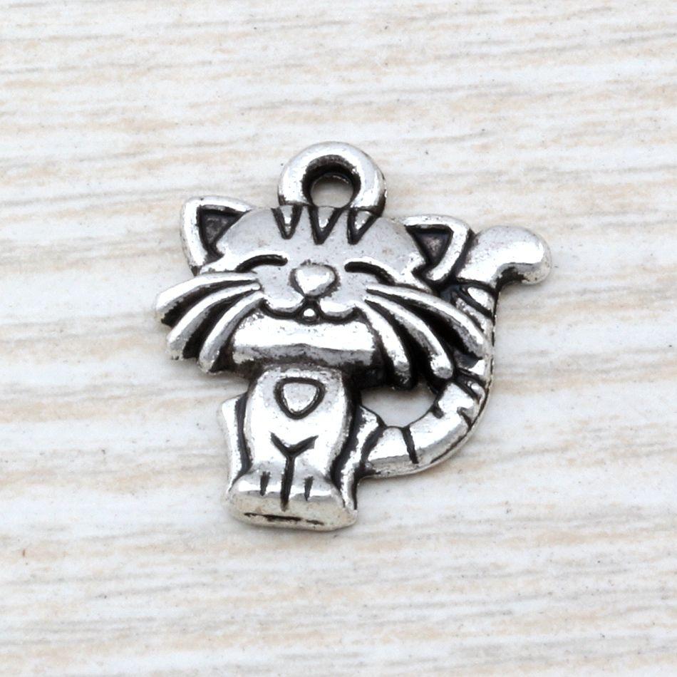 MIC 100szt Starożytne Srebrne Stop Cynkowy Jednostronny Cute Cat Charm Wisiorki 18x 19mm DIY Jewelry A-110