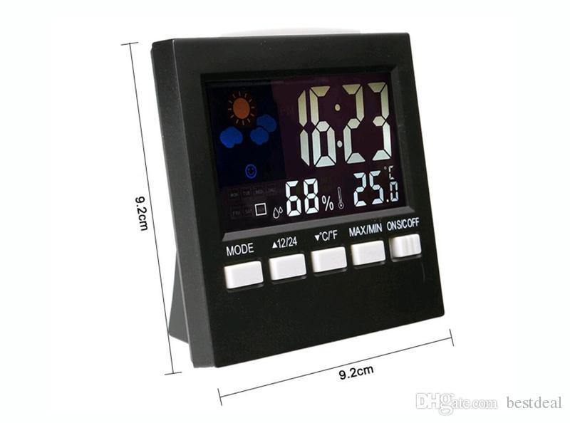 Nouveau Style Thermomètre Station Météo Numérique Ménage Thermographe Réveil Multi-fonction Thermomètre D'intérieur Hygromètre Ventes Chaudes HTC-1