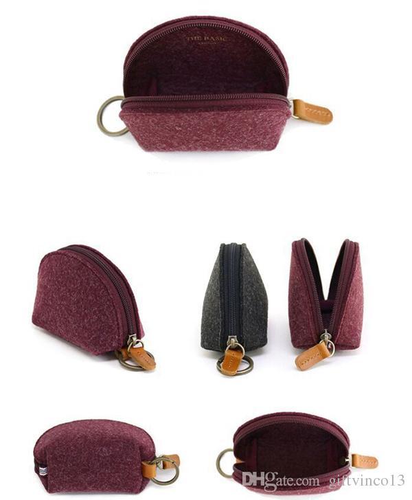 Moda lana Felt Coin Case Zip-around Llavero Chain Ring Moneda clave Tarjeta de crédito Bills Purse Wallet Pouch Regalos de Navidad es