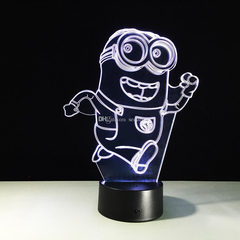 2017 3D Running Minions Illusion Night Lamp 3D Optical Lamp Battery DC 5V Wholesale