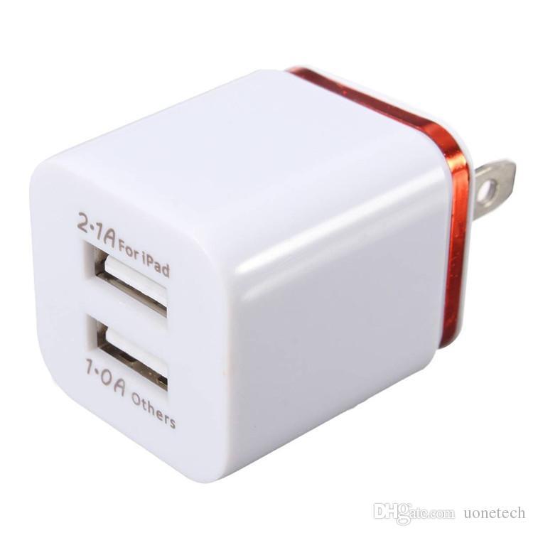 Para iPhone 6 7 Plus Metal Doble pared USB Enchufe de EE. UU. 2.1A Adaptador de corriente alterna Enchufe de pared Enchufe 2 puertos para Samsung galaxy note LG tablet ipad