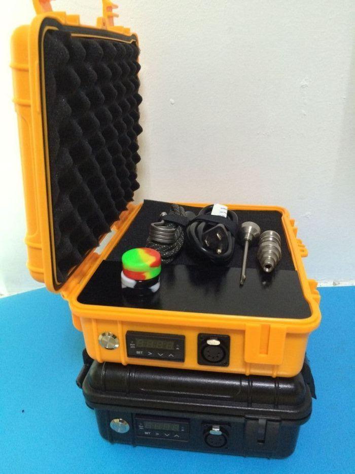 NewTitanium Nail Pelican caja de humo calentador de la bobina Yellow Pelican Case Temp Control E cigarrillo seco Herbal Wax Box Vaporizador Kit