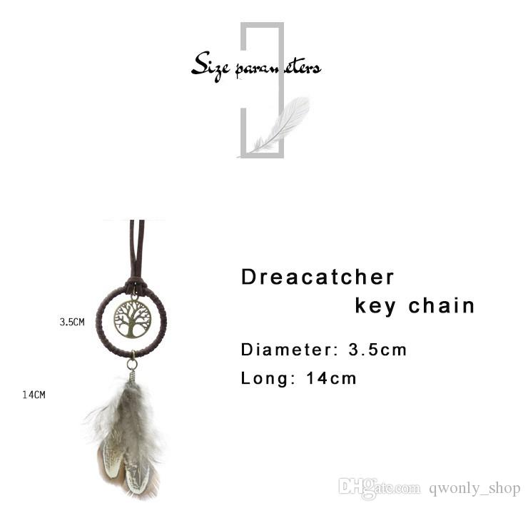Enchanted Forest Mini Dreamcatcher Handmade Dream Catcher Net With Feather Decoration Car Keychain Ornament Diameter