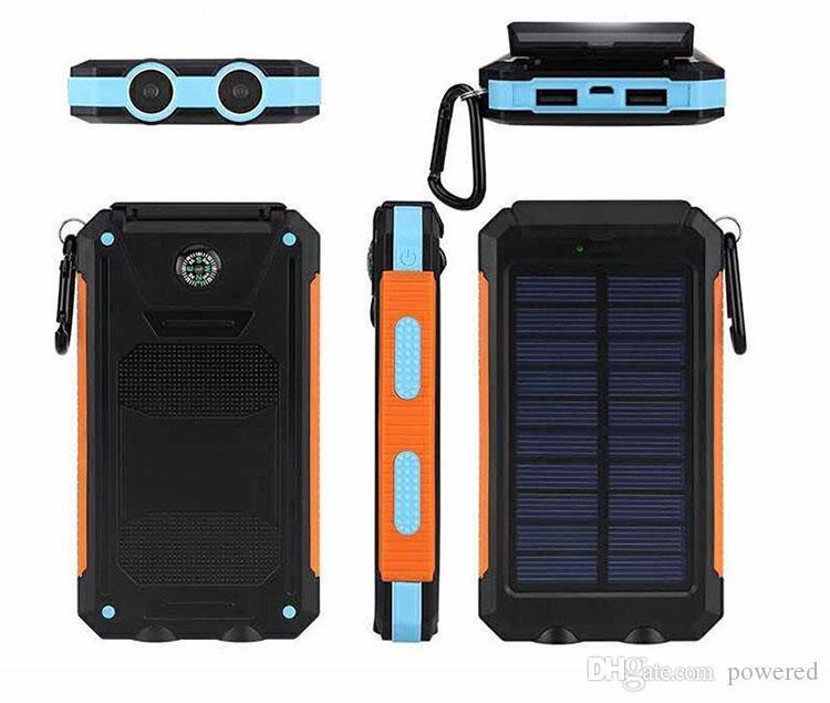 20000 mah viagem portátil banco de energia solar à prova d 'água 2 usb painel solar externo de carregamento dual led luz bússola para todo o telefone