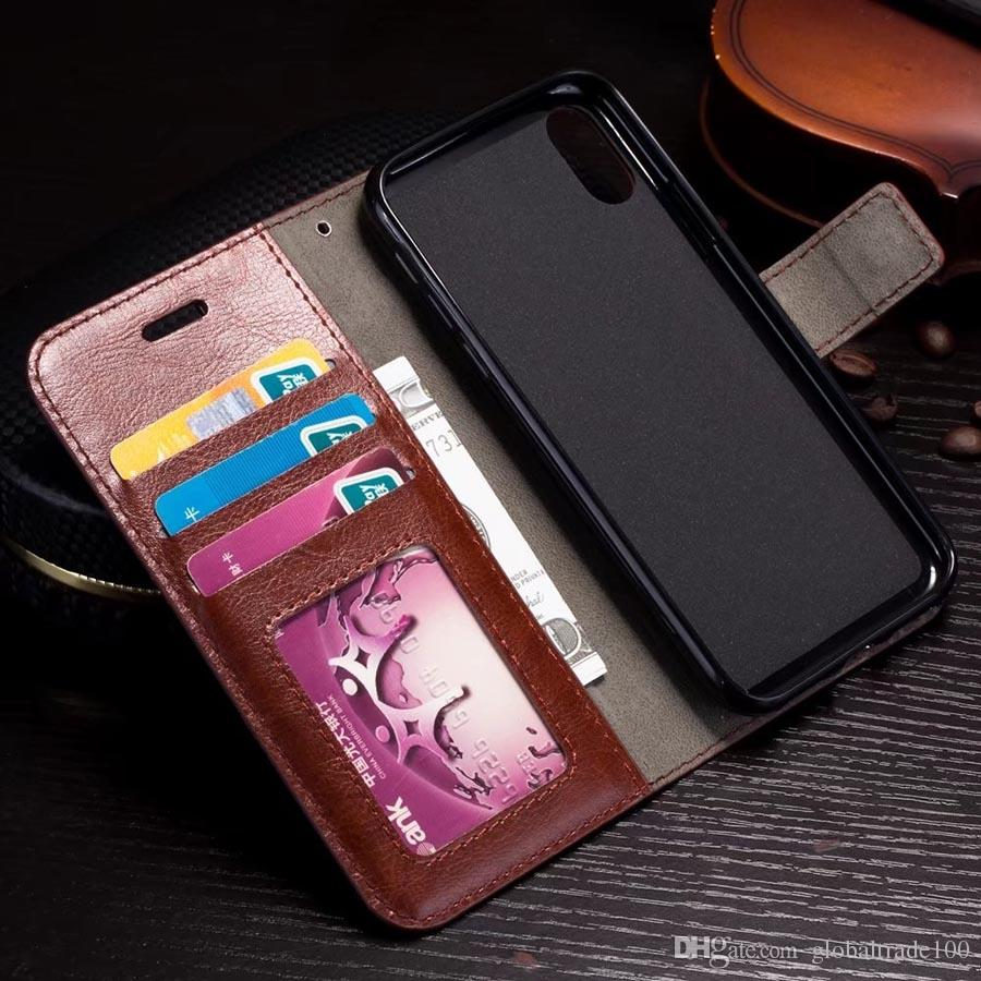 Wallet Case with Card Pouch Stand Holder PU Leather Back Cover Cases For iPhone XR XS Max 6S Plus Sumsung Galaxy S10 S9