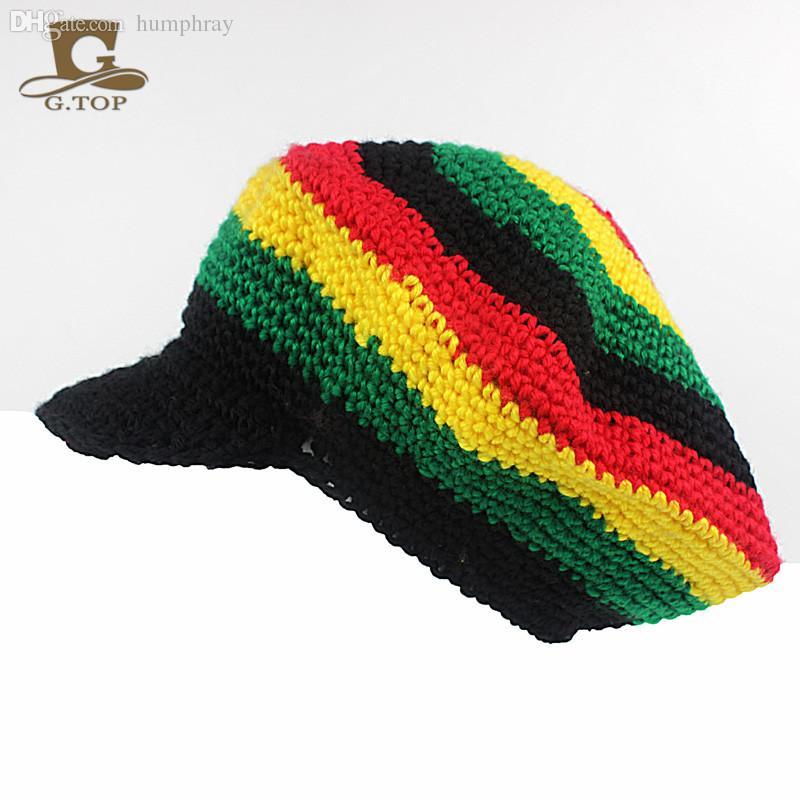 2018 Wholesale Handmade Crochet Visor Rasta Reggae Tam Beanie Beret