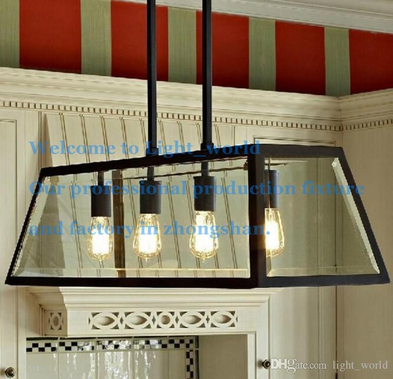 Discount Loft Pendant Lamp Retro American Industrial Black Iron Glass Rectangular  Chandelier Light Living Room Dining Room Light Bar Lamp 1/4 Head Unique ...