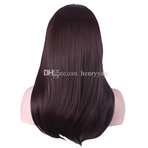 Cheap Long Kinky Straight Hair Wig Full Side Bang Dark Brown Synthetic Wigs 100g Europe Fashion Wig