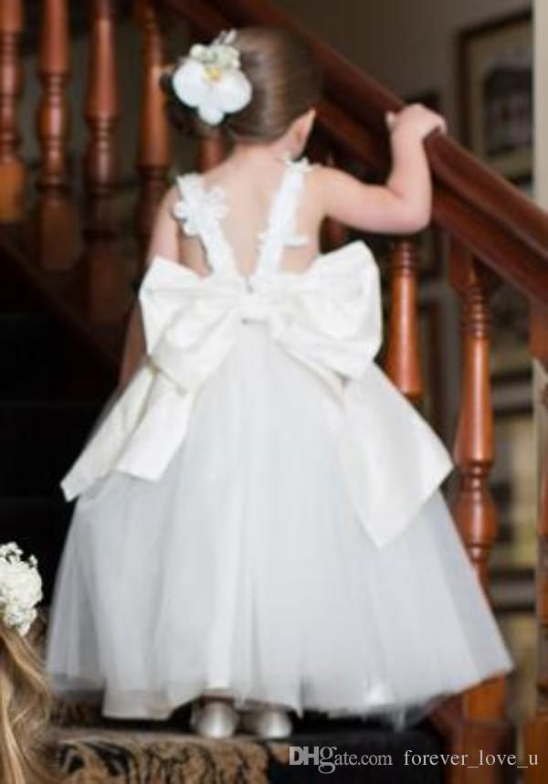 Lovely Flower Girls Dresses for Weddings Little Girl Lace Appliques Top Open Back Formal Dress Special Occasion Gowns Oversize Bow