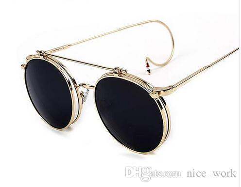 c4e3bffd9417 Steampunk-2016 New G-Dragon Vintage Round Flip up Sunglasses Women Men Retro  Steampunk mirrored Glasses Points Fashion Brand Shades S861