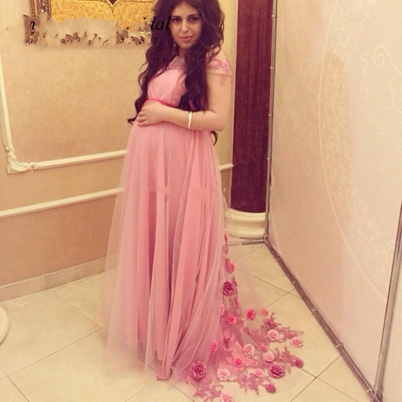 2016 Arabic Pink Prom Dresses For Pregnant Women Short Sleeves ...