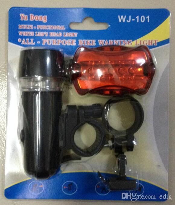 YU DONG WJ-101 Water Resistant LED Bike Bicycle Head Light Rear Safety Flashlight Bracket
