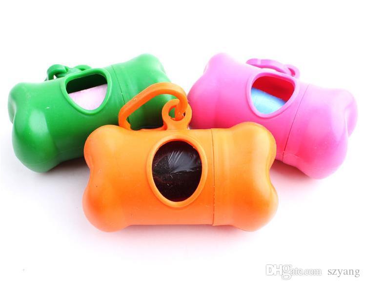 8.3 * 4 CM Dog Poop Bag Set Com 1 Saco de Rolo 1Bone Dispenser Dispensador de Gato Cão Sacos de Resíduos Pet Supplies Frete Grátis