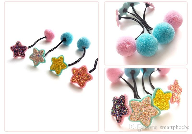 Wholesale Boutique Fashion Cute Glitter Star Elastic Hair Bands Kawaii Solid Pom Pom Ball Rope Gum Rubber Bands Headwre Accessories