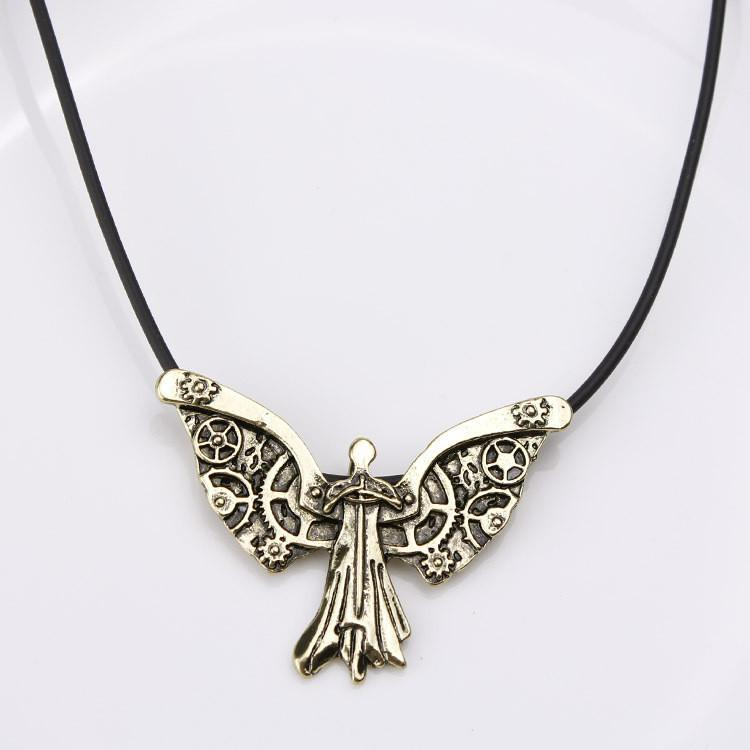 on watch necklace wanelo clockwork woodland steampunk butterfly nature shop