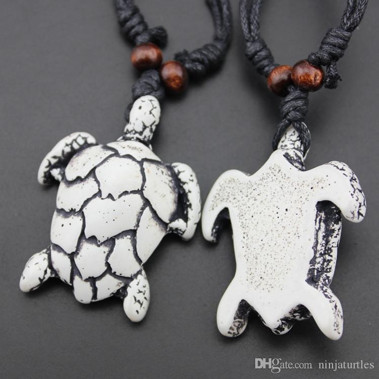 Wholesale Imitation Bone Carved Tribal Turtles Pendant for men women's jewelry Surfing sea turtle Necklace Gift MN443