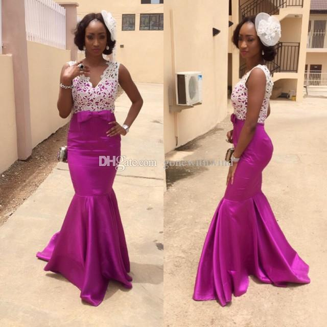 8bdf2346e71 African Mermaid Wedding Guest Dresses Bridal Outfits Purple ...