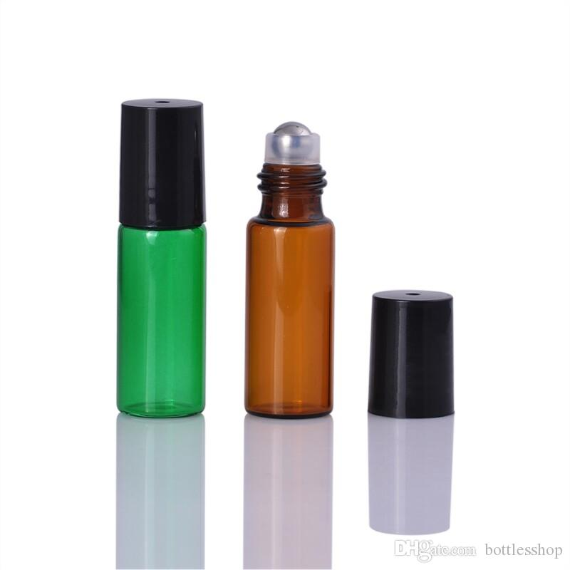 Fashion Colorful Perfume Sample 5ml Roller Bottle Amber Green Purple Blue Essential Oils Empty Glass Bottle Roll-On Bottle With Metal Ball
