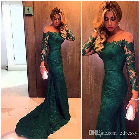 Großhandel Emerald Green Lace Prom Kleider Mit Langen Ärmeln ...