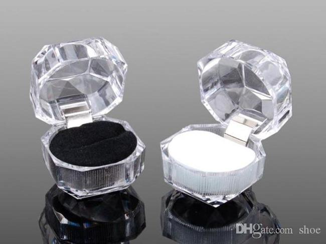 60 stks 3 kleuren 60 stks ringen doos sieraden helder acryl goedkope dozen bruiloft gift box ring stud stof plug box
