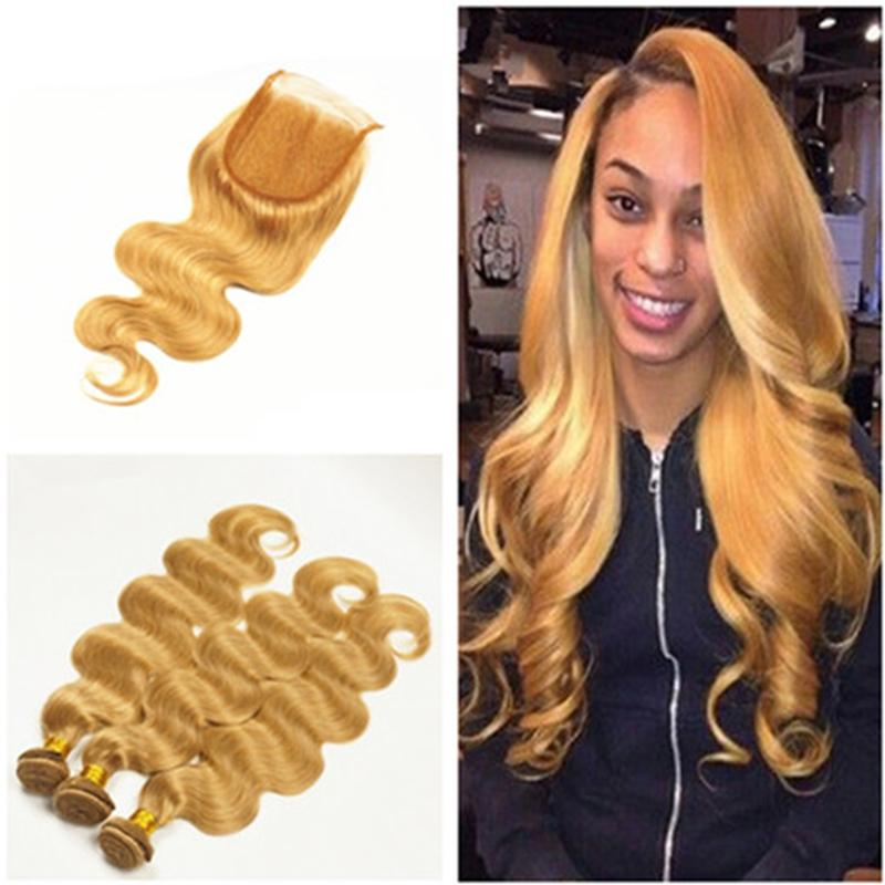 8A  27 Honey Blonde Lace Closure With 3 Bundles Brazilian Body Wave Human Hair  Weaves With Free Middle Three Parting Closure Hair Extensions Weave Weave  ... c7c185159