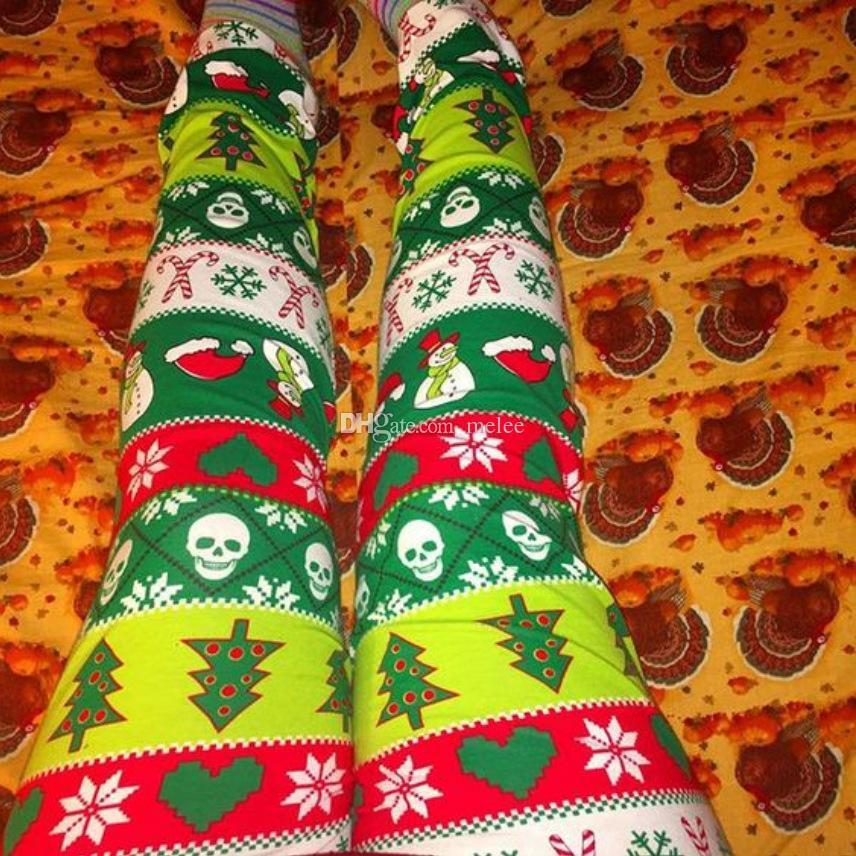 INS Mom Kids Leggings Women Baby Xmas Christmas chevron flower pants Santa Snowflake Snowman print Trousers Slim casual tights pants 30style