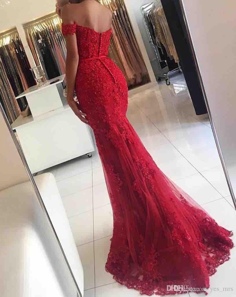 2018 robes de bal d'épaule foncé dentelle rouge appliques perlée sirène longue dos ouvert balayage train robe de soirée soirée reconstitution historique robes de soirée
